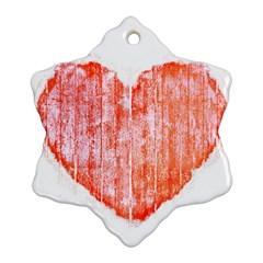 Pop Art Style Grunge Graphic Heart Snowflake Ornament (Two Sides)