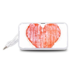 Pop Art Style Grunge Graphic Heart Portable Speaker (White)
