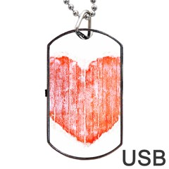 Pop Art Style Grunge Graphic Heart Dog Tag USB Flash (One Side)