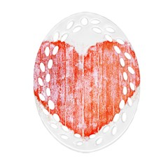 Pop Art Style Grunge Graphic Heart Ornament (Oval Filigree)