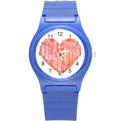 Pop Art Style Grunge Graphic Heart Round Plastic Sport Watch (S)