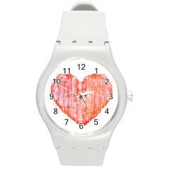 Pop Art Style Grunge Graphic Heart Round Plastic Sport Watch (M)