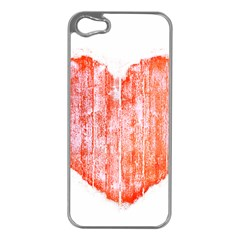Pop Art Style Grunge Graphic Heart Apple iPhone 5 Case (Silver)