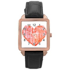 Pop Art Style Grunge Graphic Heart Rose Gold Leather Watch