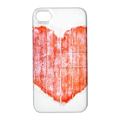 Pop Art Style Grunge Graphic Heart Apple iPhone 4/4S Hardshell Case with Stand