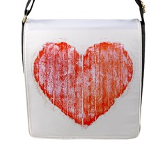 Pop Art Style Grunge Graphic Heart Flap Messenger Bag (L)