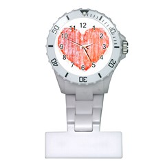 Pop Art Style Grunge Graphic Heart Plastic Nurses Watch