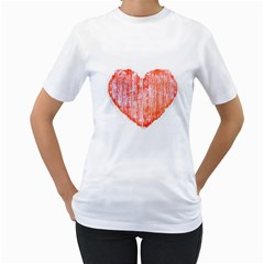 Pop Art Style Grunge Graphic Heart Women s T-Shirt (White)