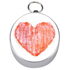 Pop Art Style Grunge Graphic Heart Silver Compasses
