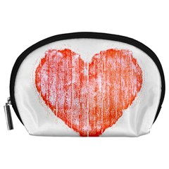 Pop Art Style Grunge Graphic Heart Accessory Pouches (Large)