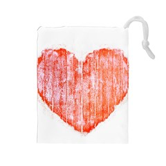 Pop Art Style Grunge Graphic Heart Drawstring Pouches (Large)