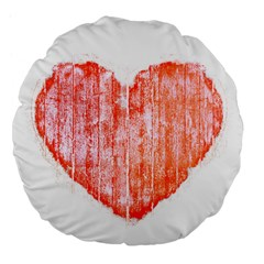 Pop Art Style Grunge Graphic Heart Large 18  Premium Flano Round Cushions