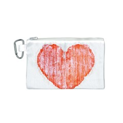 Pop Art Style Grunge Graphic Heart Canvas Cosmetic Bag (S)