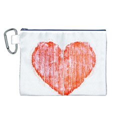 Pop Art Style Grunge Graphic Heart Canvas Cosmetic Bag (L)