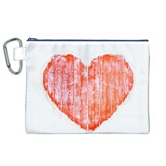 Pop Art Style Grunge Graphic Heart Canvas Cosmetic Bag (XL)