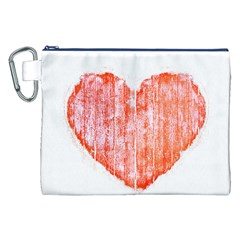 Pop Art Style Grunge Graphic Heart Canvas Cosmetic Bag (XXL)