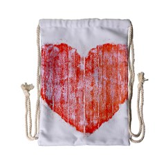 Pop Art Style Grunge Graphic Heart Drawstring Bag (Small)