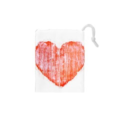 Pop Art Style Grunge Graphic Heart Drawstring Pouches (XS)