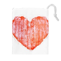 Pop Art Style Grunge Graphic Heart Drawstring Pouches (Extra Large)