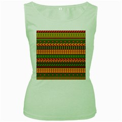 Mexican Pattern Women s Green Tank Top