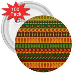 Mexican Pattern 3  Buttons (100 pack)