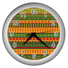 Mexican Pattern Wall Clocks (Silver)