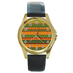 Mexican Pattern Round Gold Metal Watch
