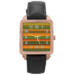 Mexican Pattern Rose Gold Leather Watch
