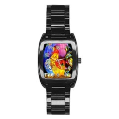 Chinese Zodiac Signs Stainless Steel Barrel Watch