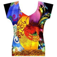 Chinese Zodiac Signs Women s V-Neck Cap Sleeve Top