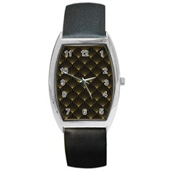 Abstract Stripes Pattern Barrel Style Metal Watch
