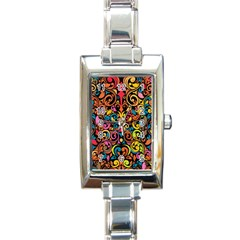 Art Traditional Pattern Rectangle Italian Charm Watch