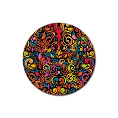 Art Traditional Pattern Rubber Round Coaster (4 Pack)