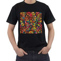 Art Traditional Pattern Men s T-Shirt (Black) (Two Sided)