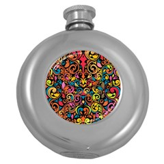 Art Traditional Pattern Round Hip Flask (5 oz)