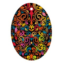 Art Traditional Pattern Oval Ornament (Two Sides)