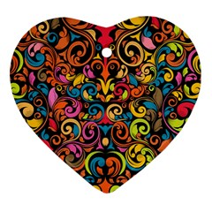 Art Traditional Pattern Heart Ornament (two Sides)