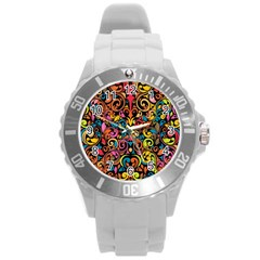 Art Traditional Pattern Round Plastic Sport Watch (L)