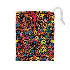 Art Traditional Pattern Drawstring Pouches (Large)