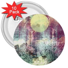 Frosty Pale Moon 3  Buttons (10 Pack)