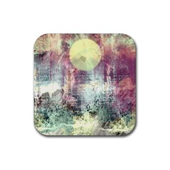 Frosty Pale Moon Rubber Square Coaster (4 pack)