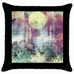 Frosty Pale Moon Throw Pillow Case (Black)