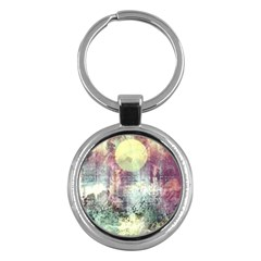 Frosty Pale Moon Key Chains (round)