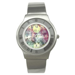Frosty Pale Moon Stainless Steel Watch