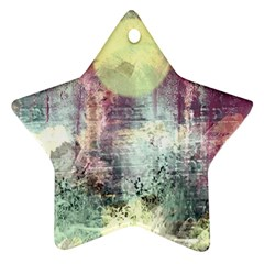 Frosty Pale Moon Star Ornament (Two Sides)