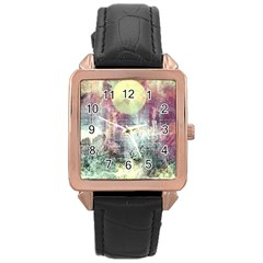 Frosty Pale Moon Rose Gold Leather Watch