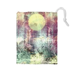 Frosty Pale Moon Drawstring Pouches (large)