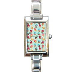 Cup Cakes Party Rectangle Italian Charm Watch