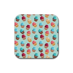 Cup Cakes Party Rubber Coaster (Square)