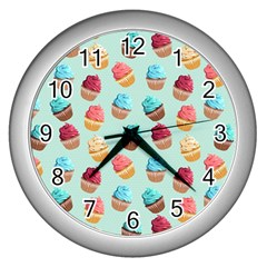 Cup Cakes Party Wall Clocks (silver)